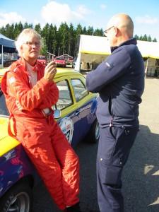 Lördagens race. Trea i klassen efter ett par snabba danska Escorter. K-G Almström analyserar racet med Tomas.