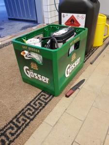 Gösser öl-back ombyggd till verktygslåda får inleda racingsäsongen 2018.